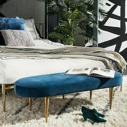 Safavieh Couture Corinne Velvet Oval Bench- Navy / Gold - Go