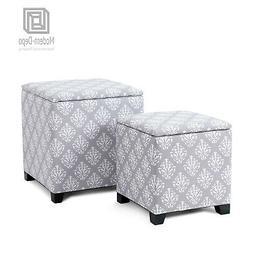 Cube Shaped Storage Ottomans Set Nesting Bench Foot Rest Sto