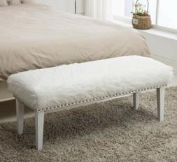 Decorative Ottoman Bench White Faux Fur Footstool with Nailh