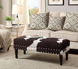 Convenience Concepts Designs4Comfort Faux Cowhide Bench w/Na