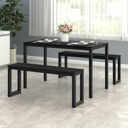 Dining 1 table and 2 benches set for space saving kitchen an