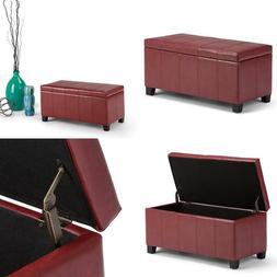 dover rectangular storage ottoman bench radicchio red
