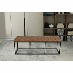 HomePop Draper Large Decorative Bench with Light Brown Faux