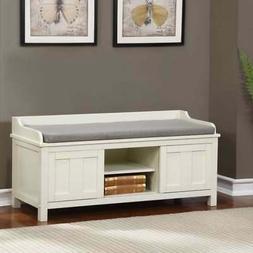 Linon Edison Lakeville White Metal/Wood Cushioned Storage Wh