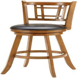 Elegant Swivel Bar Stool Wooden Upholstered Seat Kitchen Din