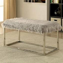 Furniture of America Elma Large Upholstered Bench in Gray