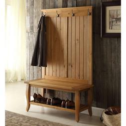 Entryway Hall Coat Tree Rack Hooks Antique Brown Bench Stora