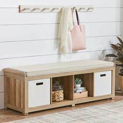 Entryway Storage Bench Wood Cushion Sitting Furniture Uphols