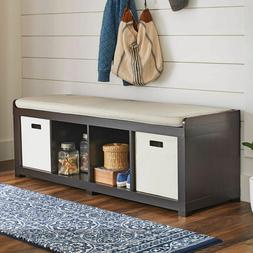 Entryway Storage Bench Wood Room Cushion Sitting Furniture U