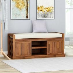 Evvy Modern Acacia Wood Storage Bench with Cushion