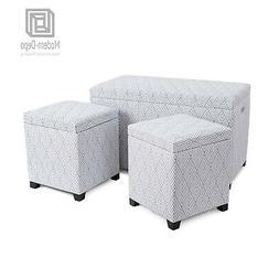Fabric Storage Bench Ottomans set 3-Piece Foot Rest Stool Ne