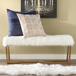 Fabric Upholstered Bench with Gold Metal Legs Stool Accent F