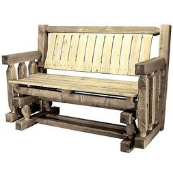 Farmhouse Style Outdoor Porch Glider Wooden Rocking Benches