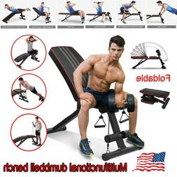 Foldable Dumbbell Bench Weight Training Gym Fitness Incline