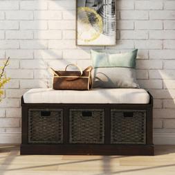 Espresso Storage Bench w/3Removable Classic Fabric Basket Re