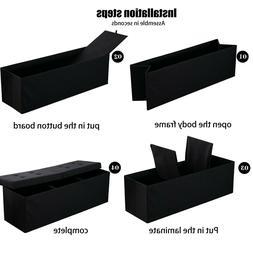 Folding Storage Ottoman Bench Linen Fabric Storage Chest Foo