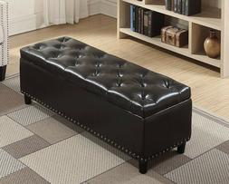Furniture faux leather storage ottoman bench design for livi