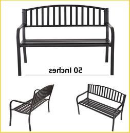 Garden Bench Outdoor Metal Park Chairs Commercial Black Iron