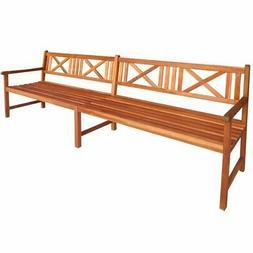 vidaXL Garden Bench w/ Armrest Wooden 4-Seater Outdoor Patio