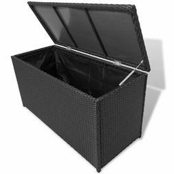vidaXL Garden Storage Chest Poly Rattan Black Outdoor Bench