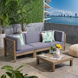 Great Deal Furniture Keith Outdoor Sectional Sofa Set with C