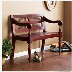 Indoor Bench Wood Seat Entryway Foyer Bedroom Mahogany Vinta