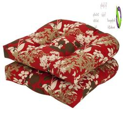 Pillow Perfect Indoor/Outdoor Floral Wicker Seat Cushions, 2