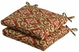 Pillow Perfect Indoor Outdoor Red Tan Damask Seat Cushion Sq