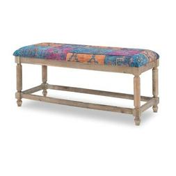 Linon Isla Multi Patterned Upholstered Wood Bench in Blue