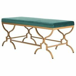Safavieh Juliet Upholstered Bench in Emerald and Gold