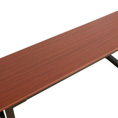 2pcs Dining Bench Frame Benches Teak Color Home US