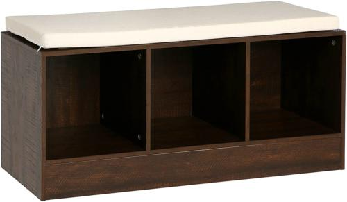 AmazonBasics Storage Bench Cushioned Seat, Espresso