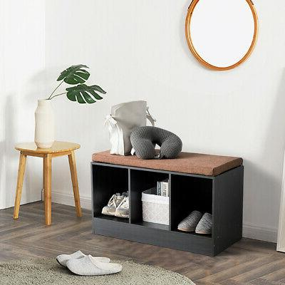 3-Cube Storage Shoe Bench Cushion Home