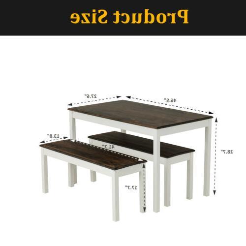 3 PCS Set Pine Wood Kitchen Room Furniture