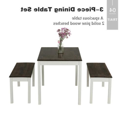 3 PCS Dining Set Pine Wood Kitchen Room Furniture