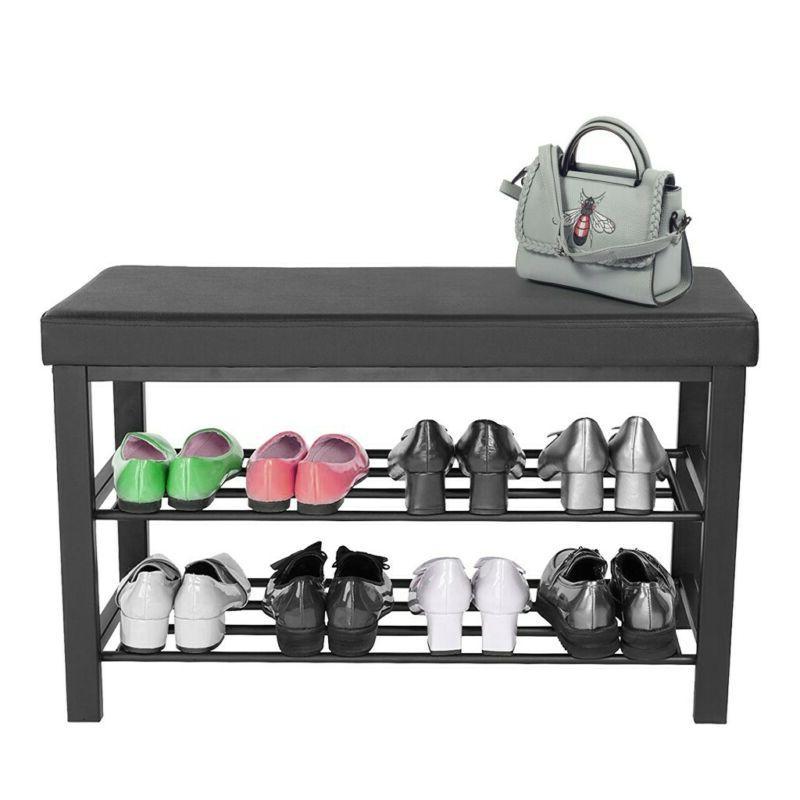 3-Tier Shoe Rack Shoe Bench For Entryway Storage Organizer W