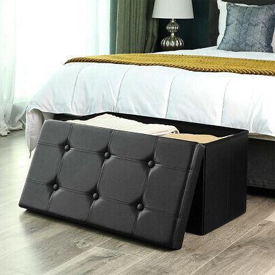 "30"" Folding Ottoman Bench Storage Furniture Decor"