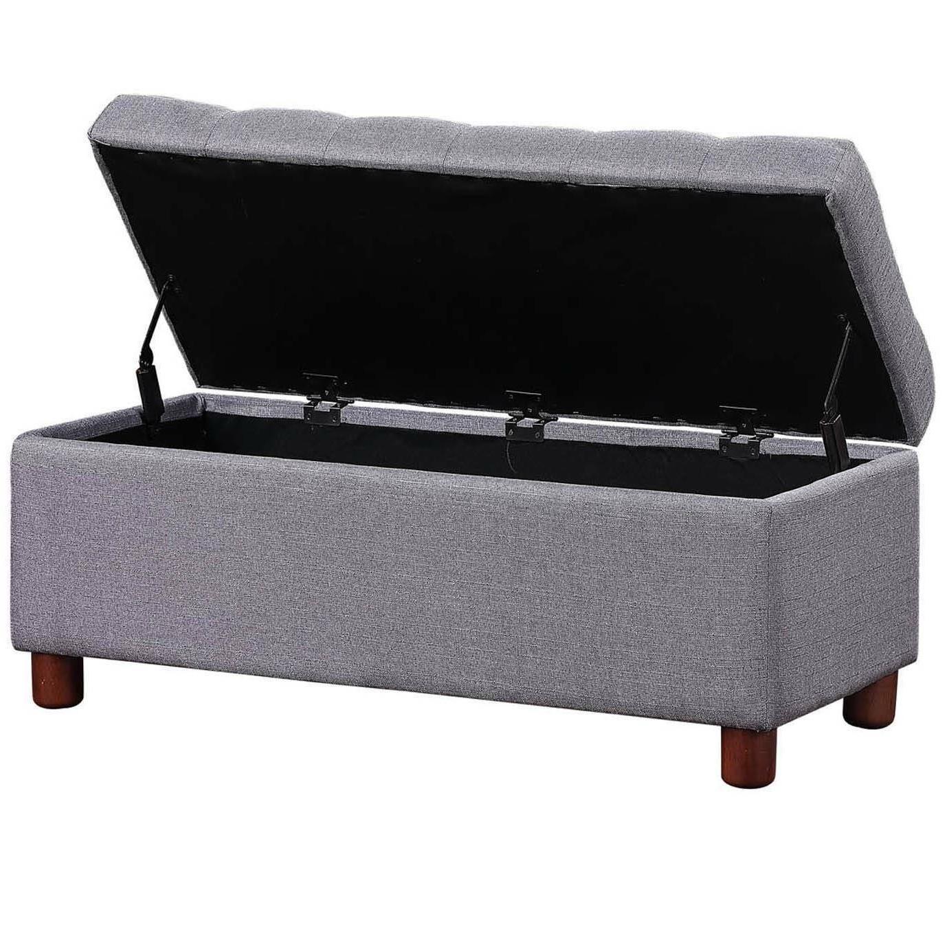 39'' Tufted Linen Fabric Storage Bench, Grey
