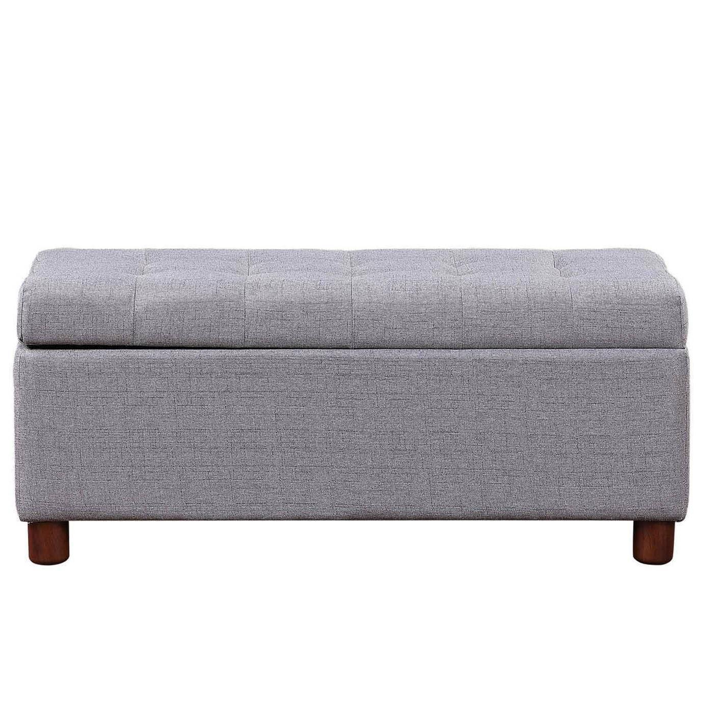 39 rectangular storage bench tufted linen fabric