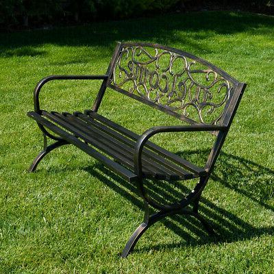 "50"" Patio Garden Bench Seat Backyard, Bronze"