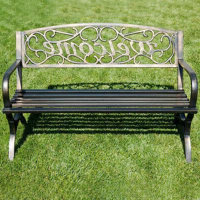 """50"""" Welcome Decorative Garden Park Bench Seat Bronze"""