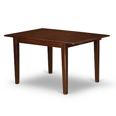 5pc rectangular dinette table with leaf 2 chairs benches mahogany