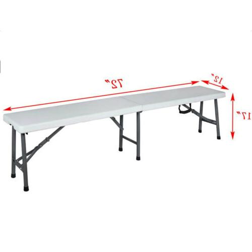 6'Portable Folding Bench Plastic In/Outdoor Dining Table Out