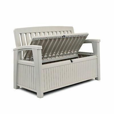 Keter Gallon Patio Storage Bench Tool for Outdoor Patio and Garden,