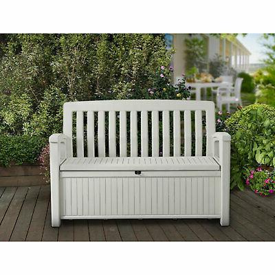 Keter Gallon Storage Bench for Outdoor Garden, Ivory