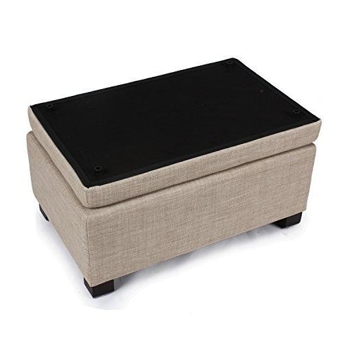 Adeco Fabric Retangular Button Tufted Trim Storage Ottoman Bench, White