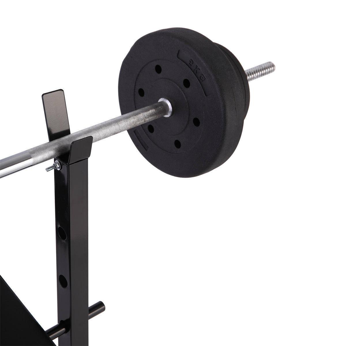 Weight Lifting Bench w/Rack Gym Workout Adjustable Strength