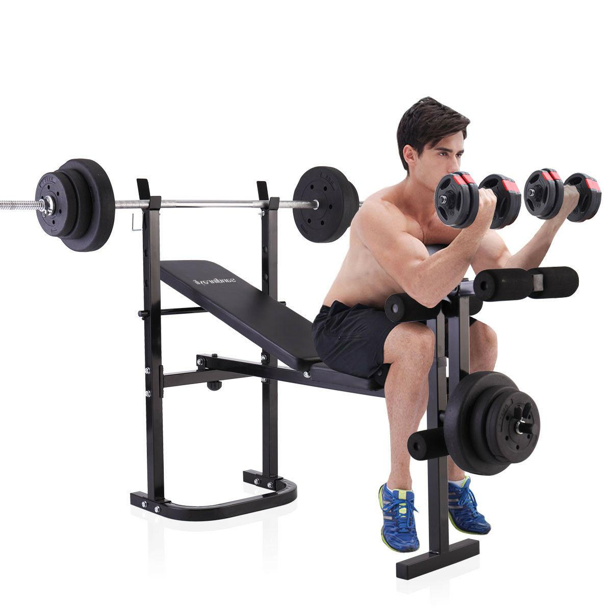weight lifting folding bench w rack home