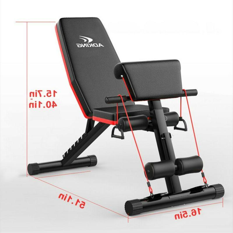 Adjustable Sit Up Incline Abs Bench Flat Fly Press W/ Fitness Rope