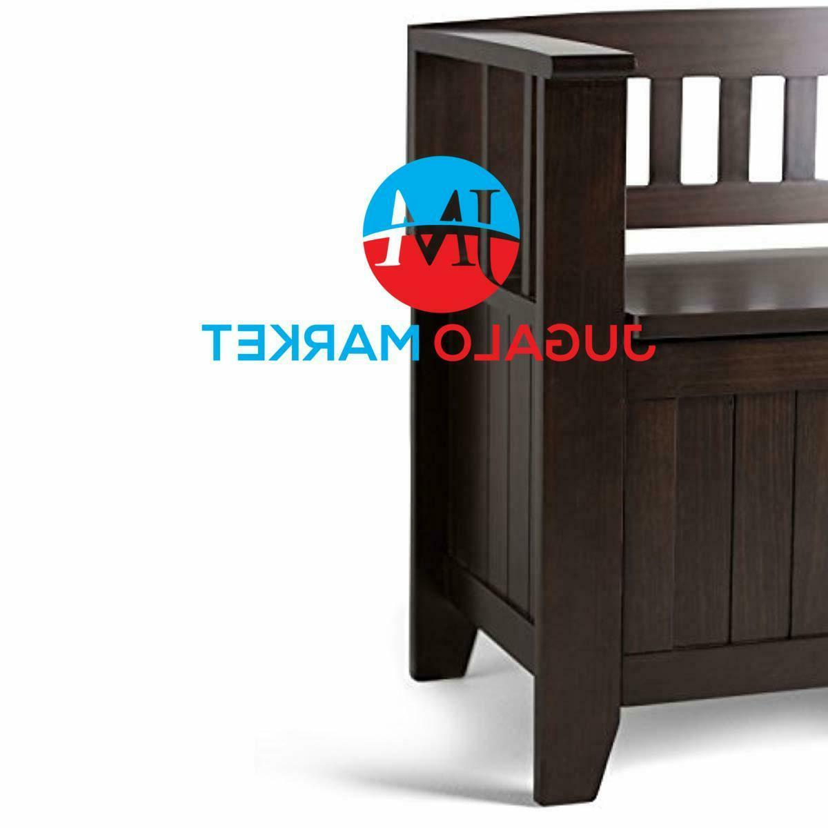 Simpli AX2370 Solid 48 wide Rustic Storage Bench